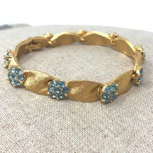 Crown Trifari Brushed Goldtone rhinestone Bracelet